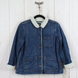 LL BEAN Fleece Lined Button Denim Jacket Size XL